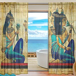 DEYYA 2 Panels Ancient Egyptian Voile Sheer Curtain Window Curtains Treatment Drapes for Living Room 55W x 78L Inch
