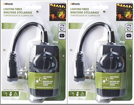Woods 10 Amp Outdoor 24 Hour 3 Outlet Light Sensitive Timer with Remote 2 Pack