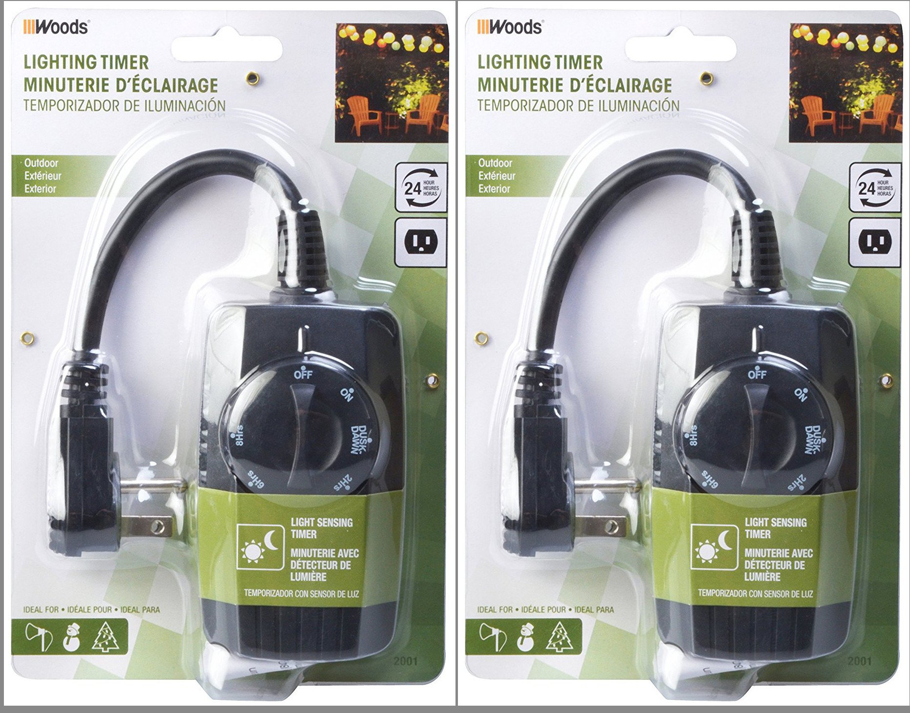 2-Pack - Woods 2001WD Outdoor 24-Hour Mechanical Outlet Timer with Light Sensor