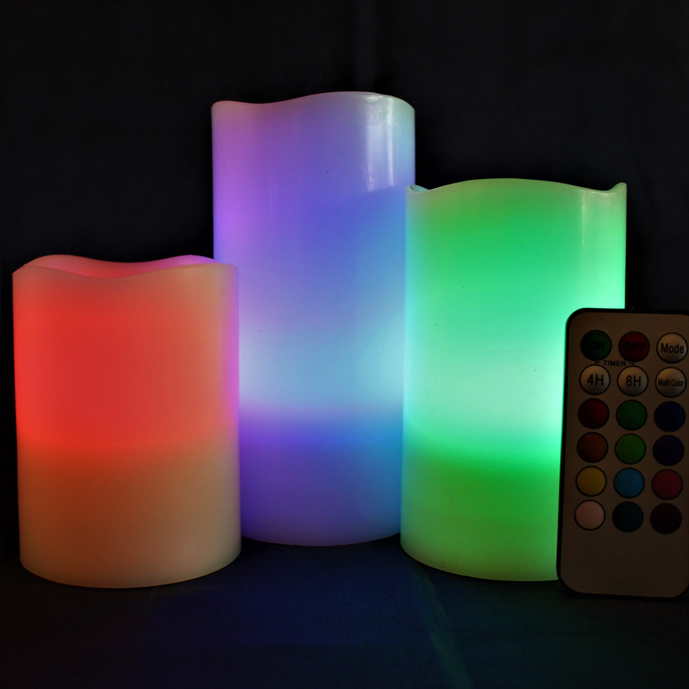LED Lytes Flickering Flameless Candles - Battery Operated Candles Vanilla Scented Set of 3 Round Ivory Wax Flickering Multi Colored Flame, auto-Off Timer Remote Control Weddings Gifts by LED Lytes (Image #7)
