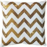 """Decorative Sequins Zig-Zag Pattern Throw Pillow COVER 18"""" Gold"""