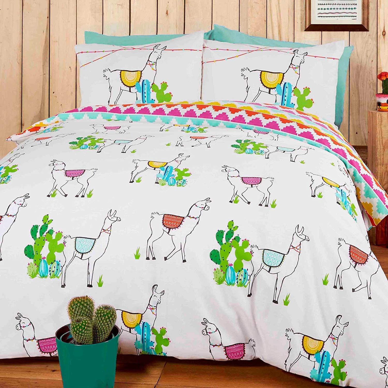 Mequib Com Rapport Happy Llamas Reversibile Set Copripiumino Matrimoniale Poliestere Tessili Per La Casa Biancheria Da Letto