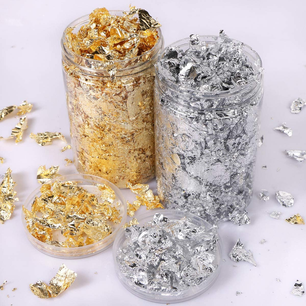 Crafts and Home Decoration Gilding Flakes Set,Gold Flakes and Silver Flakes for for Resin Art Painting Arts Nails Gilding