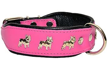 RoseNoir en Cuir Véritable collier pour chien bouledogue français fait à la main