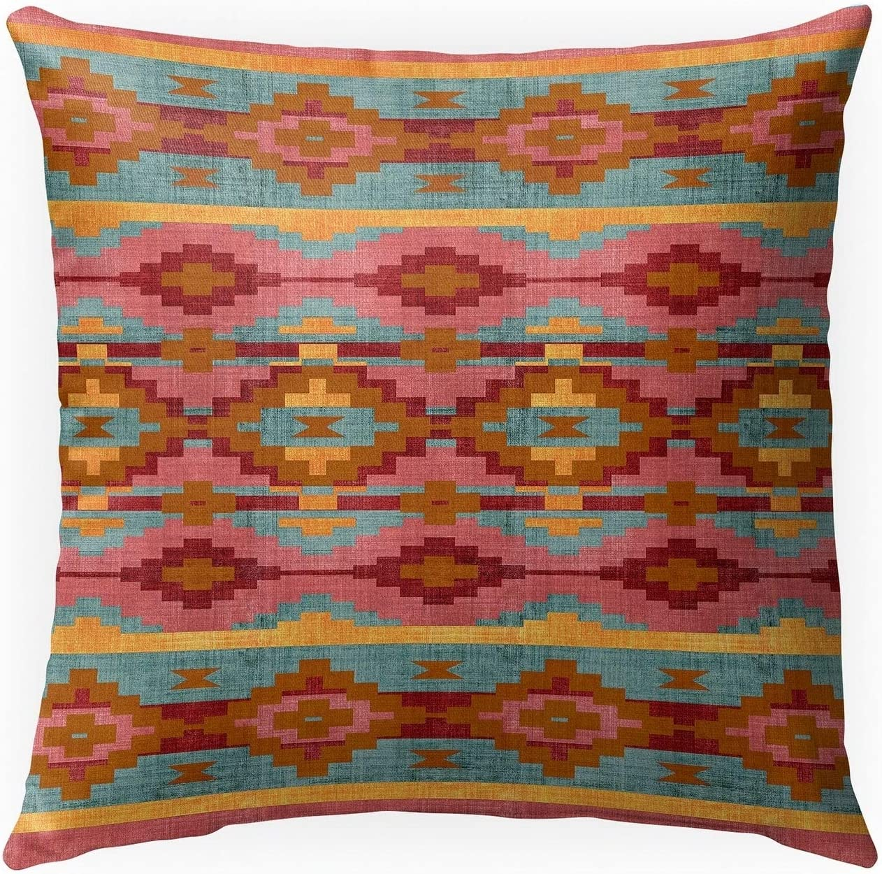 Amazon Com Misc Canyon Indoor Outdoor Pillow By 18x18 Pink Geometric Southwestern Polyester Removable Cover Home Kitchen