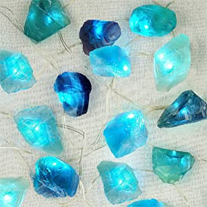 BOHON Natural Fluorite String Lights Battery Operated with Remote Sea Glass Raw Stones Decorative Lights 6.5ft 20 LEDs String Lights for Bedroom Party Indoor Christmas Wedding Decor