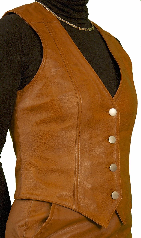 Ashwood Ladies Luxury Leather Waistcoat with Back Buckle/Belt