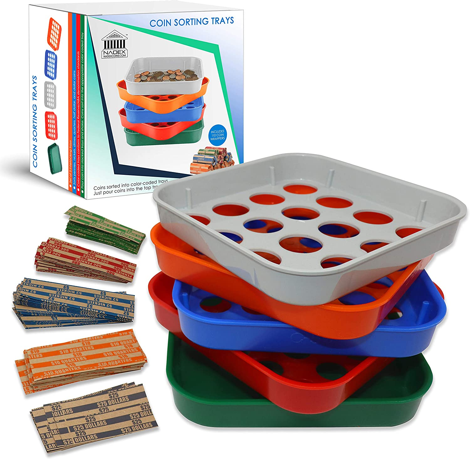 Nadex 5 Quick Sort Coin Organizing Trays | Color Coded Sorting Trays for Pennies, Nickels, Dimes, Quarters and Dollar Coins - 110 Coin Wrappers Included