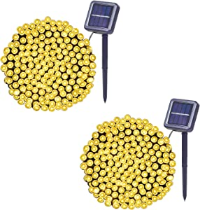 Solar String Lights 36Ft 100 LED (2 Pack),8 Modes Warm White LED String Lights Waterproof Solar Fairy Lights for Garden, Patio, Fence,Camping, Balcony,Wedding , Outdoors/Indoor.