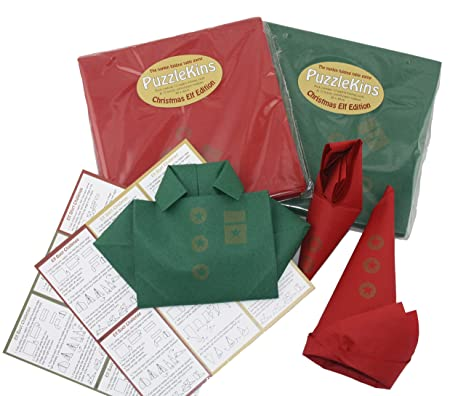 Christmas Napkin Folding.Puzzlekins Napkin Folding Table Game Christmas Elf Edition