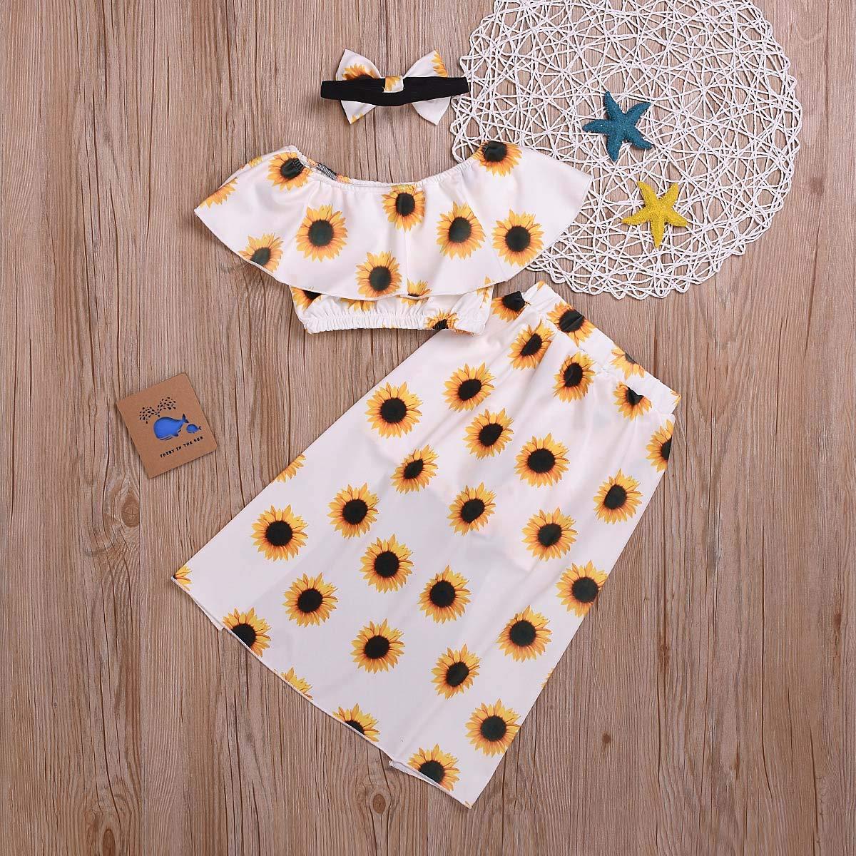 Newborn Baby Girls Ruffle Off Shoulder Top Sun Flower Skirt Headband Clothes Set