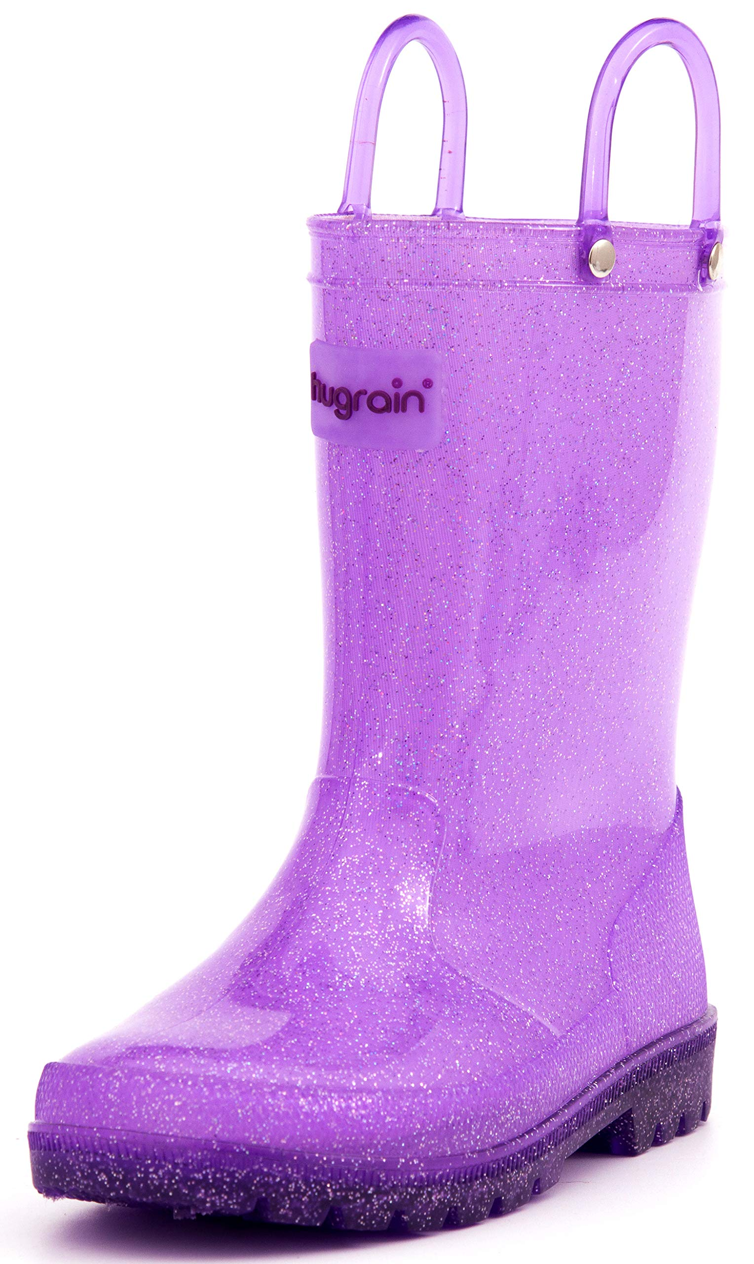 HugRain Toddler Girls Kids Rain Boots Light up Waterproof Shoes Glitter Lightweight (Size 10, Purple)