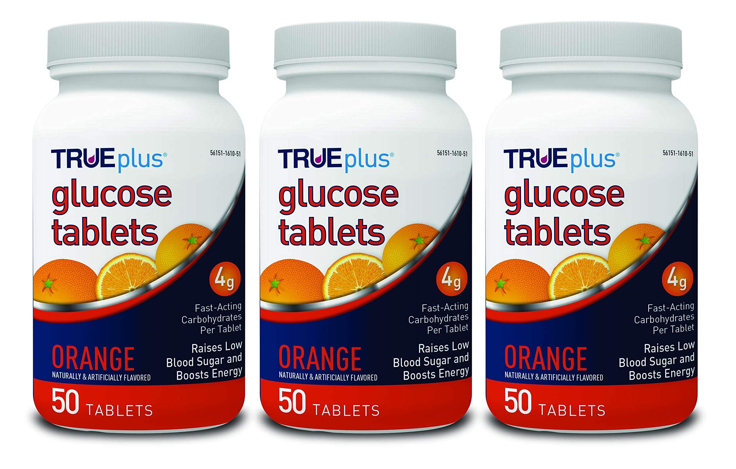TRUEplus® Glucose Tablets, Orange Flavor - 50ct Bottle - 3 Pack by TRUEplus