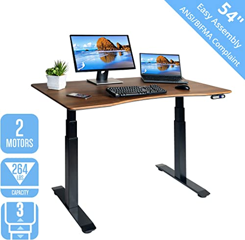 Seville Classics OFFK65826 AIRLIFT Pro S3 54 Solid-Top Commercial-Grade Electric Adjustable Standing Desk 51.4 Max Height Table, Black Walnut