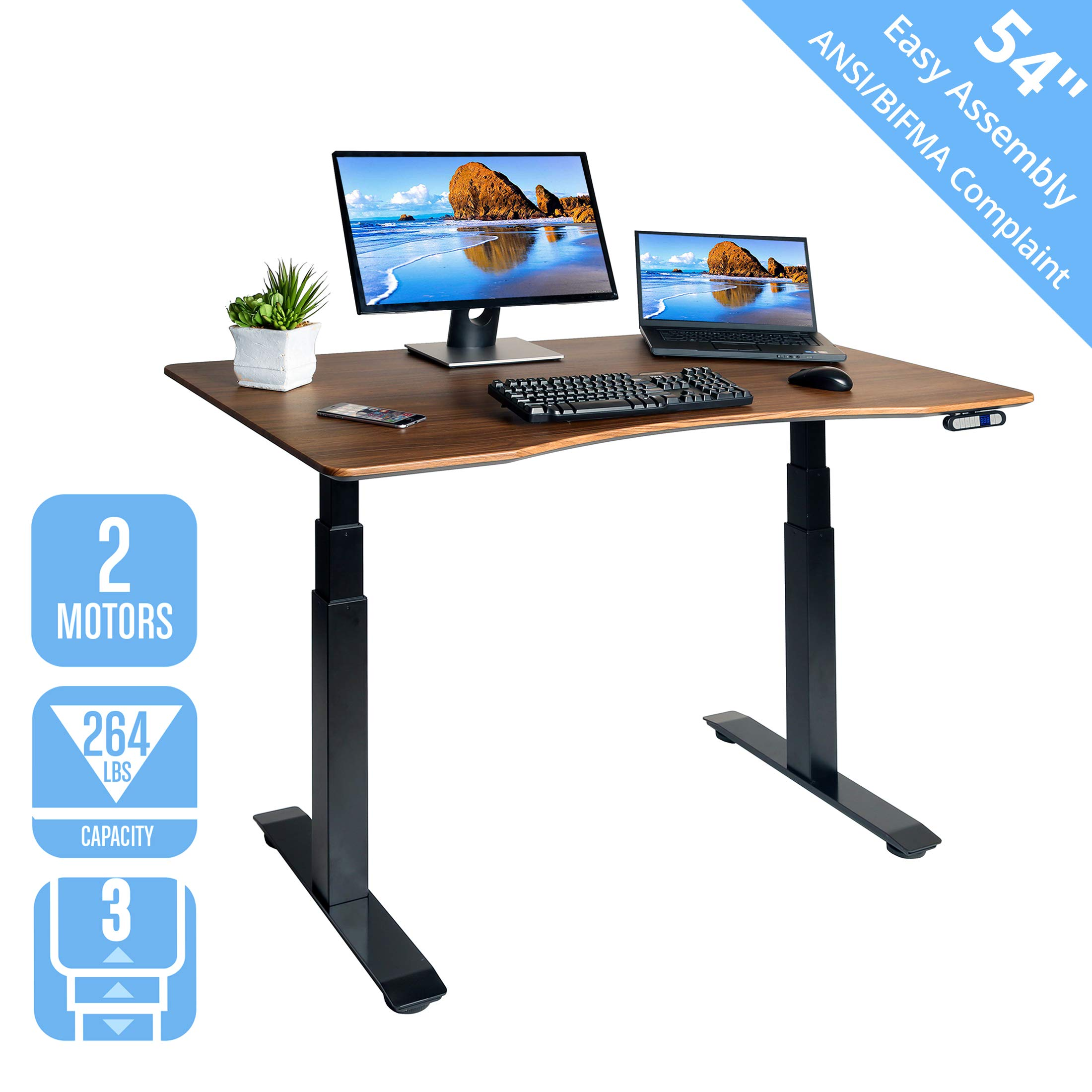 Seville Classics OFFK65826 Airlift S3 Electric Standing Desk with 54'' Top, Dual Motors, 4 Memory Buttons, LED Height Display (Max. 51.4'' H) 3-Section Base, Black/Walnut, Wood, by Seville Classics