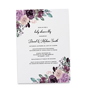 Amazon floral garden spring theme baby shower invitation cards floral garden spring theme baby shower invitation cards envelopes included custom personalized invite filmwisefo