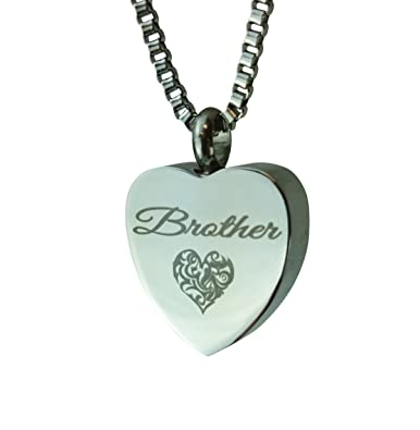 Brother Heart Urn Pendant - Memorial Ash Keepsake - Cremation Jewellery xef5D