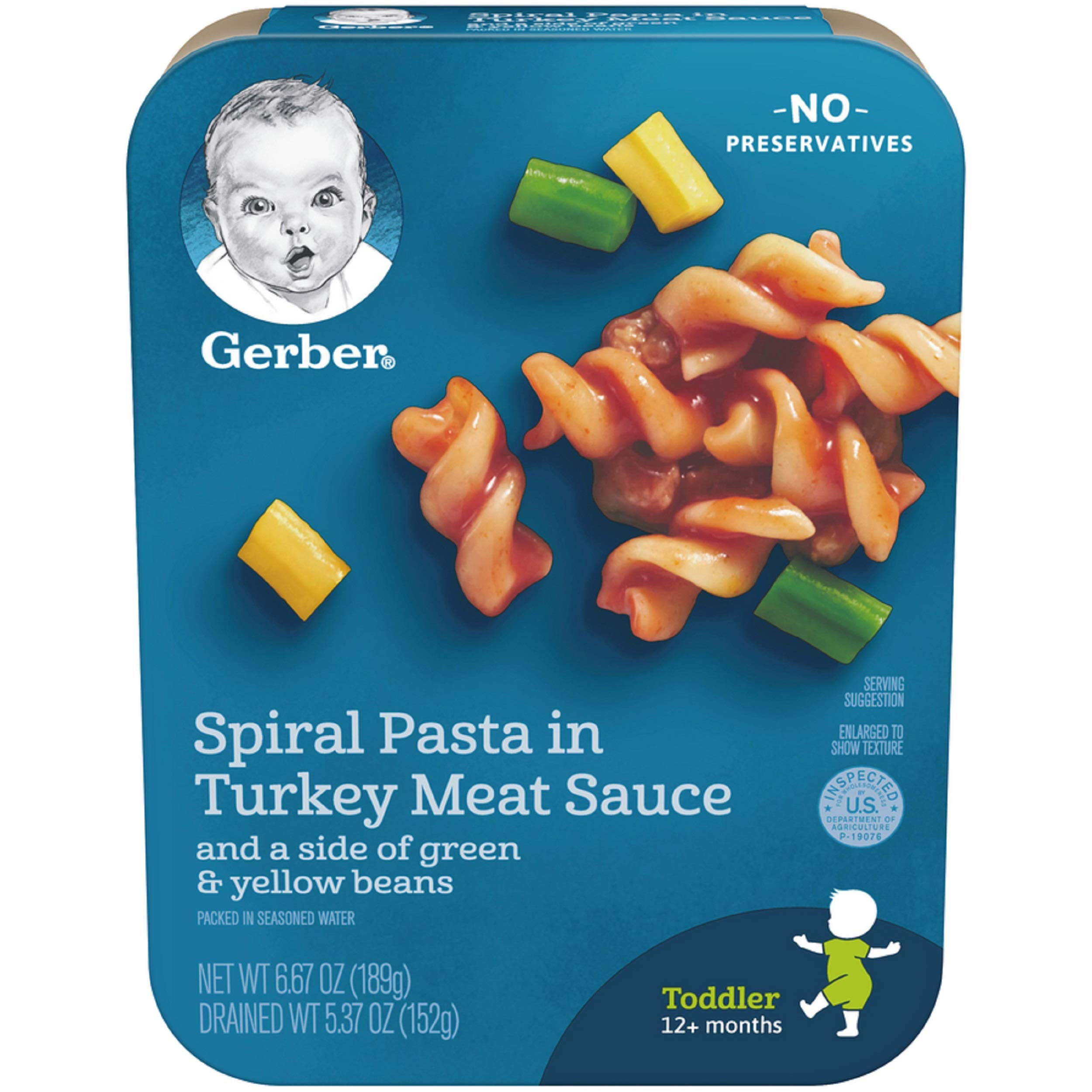 Gerber Graduates Lil Entrees Spiral Pasta with Turkey Meat Sauce, 6.67 oz., 8 Count by Gerber