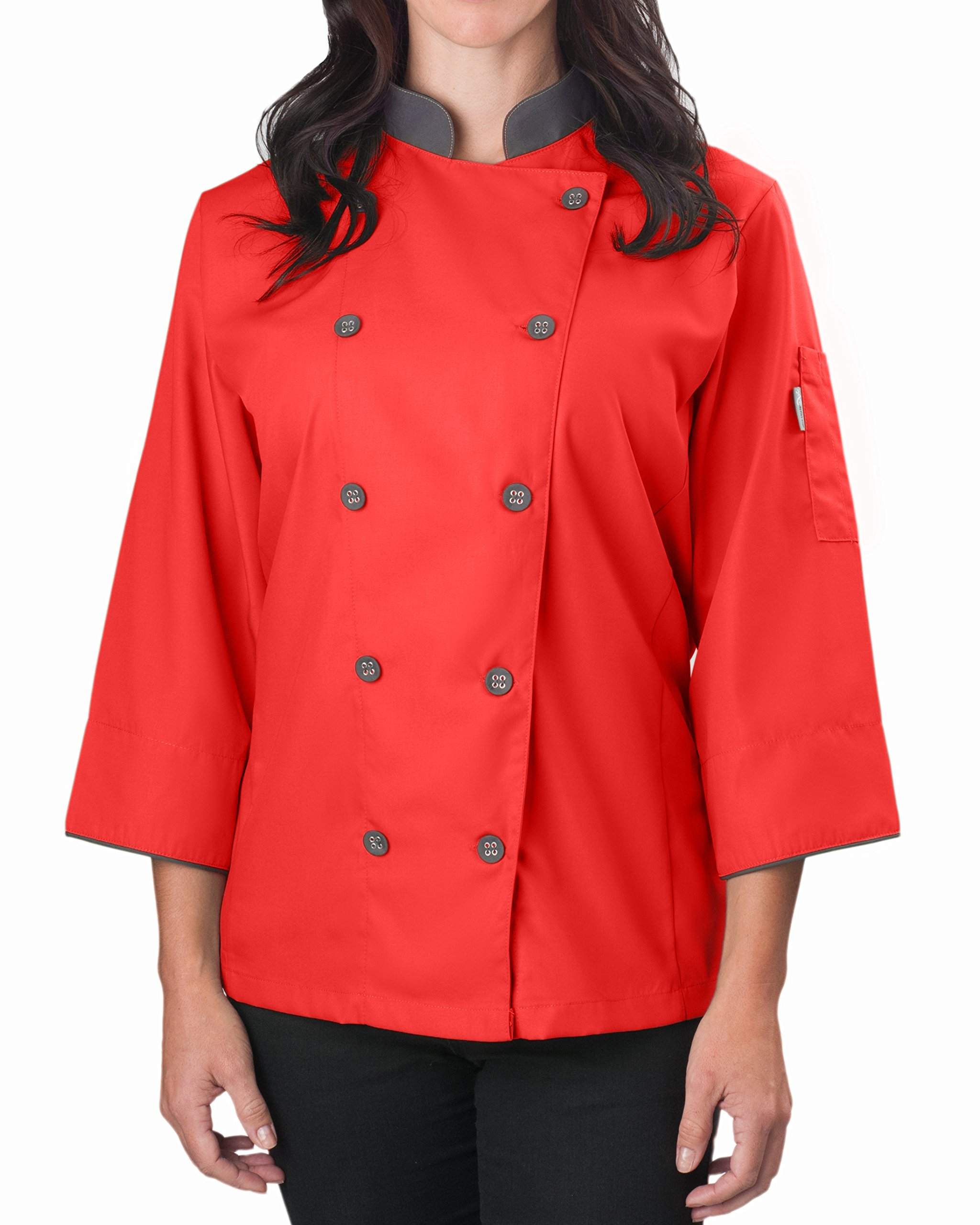 KNG Womens ¾ Sleeve Active Chef Coat, Red with Slate Accent, L