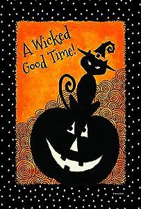 Toland Home Garden Let's Get Wicked 12.5 x 18 Inch Decorative Black Cat Halloween Garden Flag