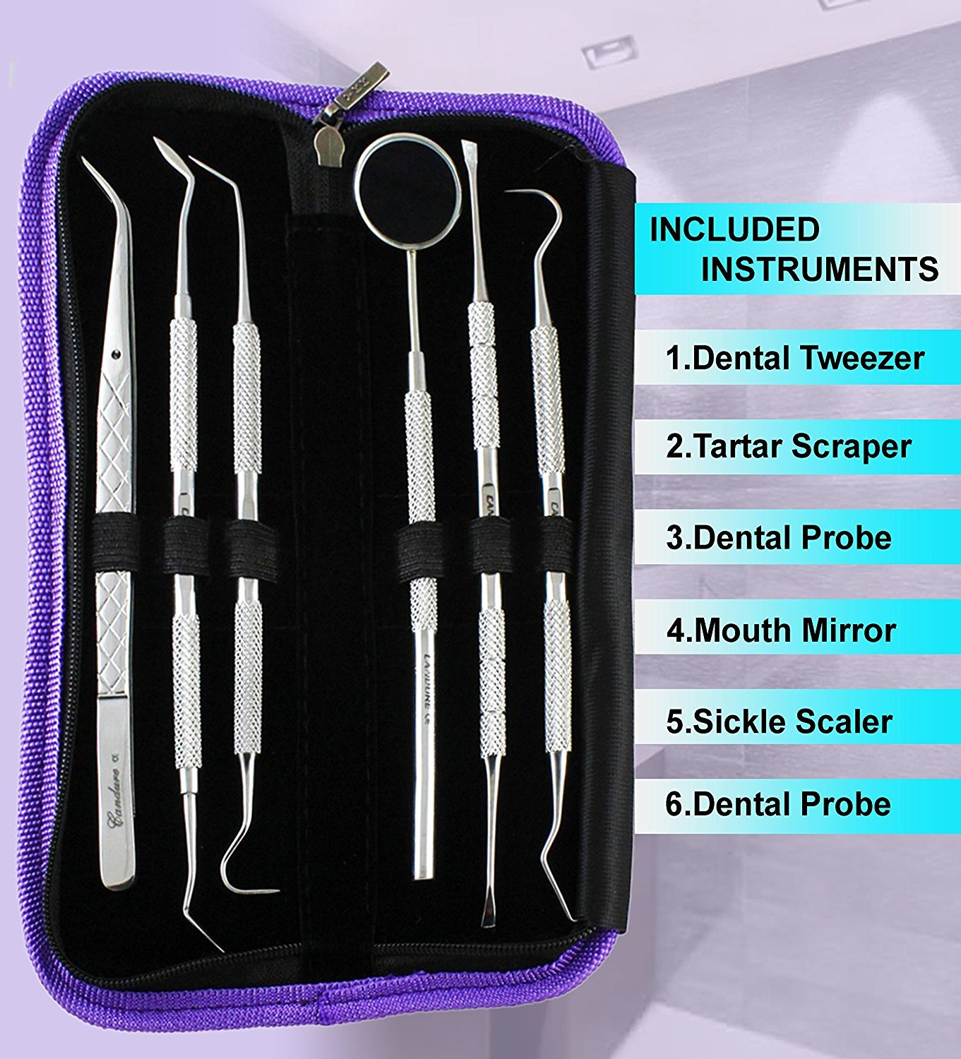 Teeth Whitening Dental Floss Dental Hygiene Kit Calculus and Plaque Remover Set Dentist Pick Tools Scaler Dental Mirror Tweezers 5 Pieces Dental Set (6 Pcs) by Candure (Image #2)