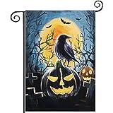 Hogardeck Halloween Garden Flag, Pumpkin Ravens Garden Decorations Outdoor, Burlap Double Sided Vertical Halloween Porch Deco