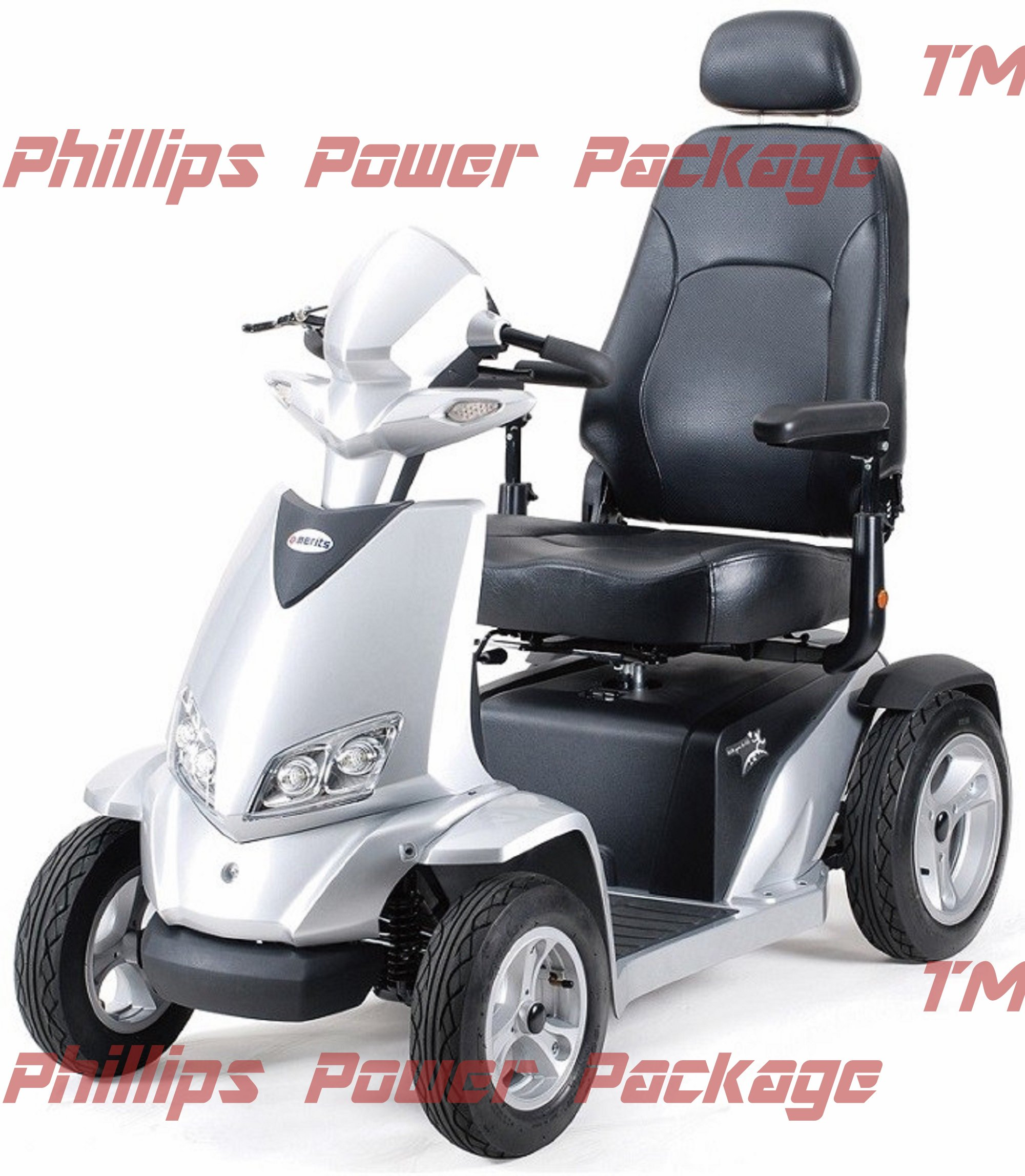 Merits - Silverado Extreme - 4-Wheel Full Suspension Electric Scooter - 20''W x 18''D, Silver - PHILLIPS POWER PACKAGE TM - TO $500 VALUE