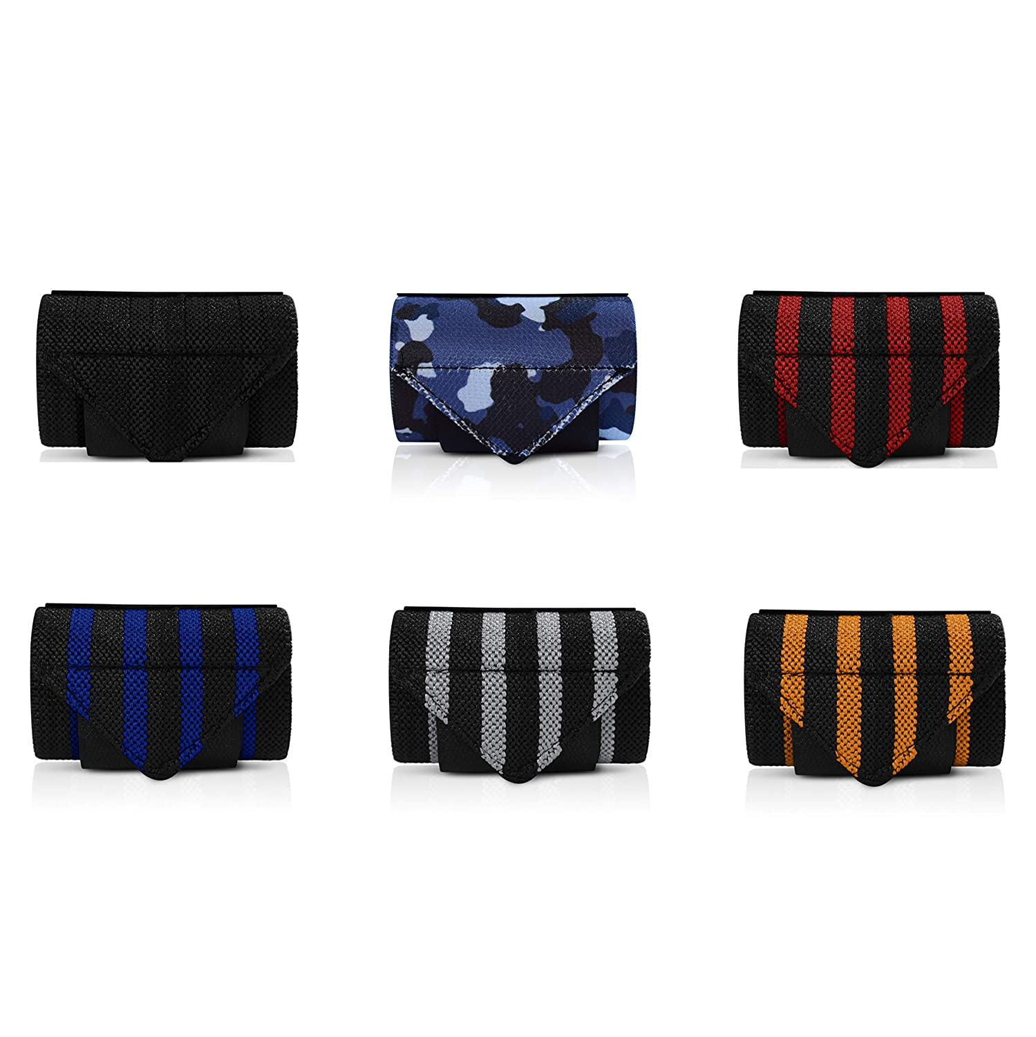 Blue Orange Yoga and Strength Training Powerlifting 20 Inch Wrist Wraps for Weight Lifting Bodybuilding Blue Camo. Professional Grade Wrist Support Red CrossFit Exercise Black Gray