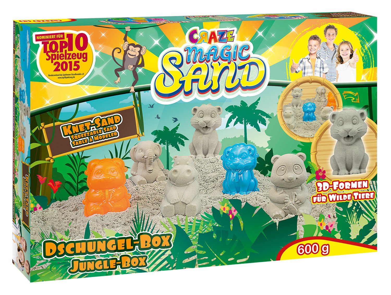Craze - 53189 - Magic Sand - Les Animaux De La Jungle 600 Grammes De Sable Magique - Craze_53189