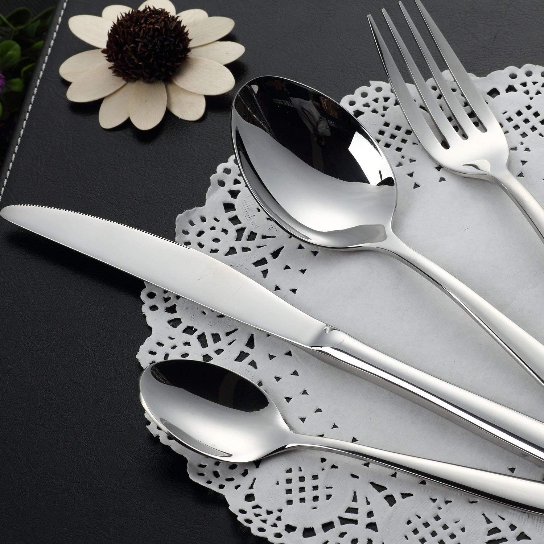 Cubertería de 24 Piezas Cubiertos de Acero Inoxidable Apto para lavavajillas Cucharas Tenedores Cuchillos Cucharillas Antioxidante para Hotel Restaurante: ...