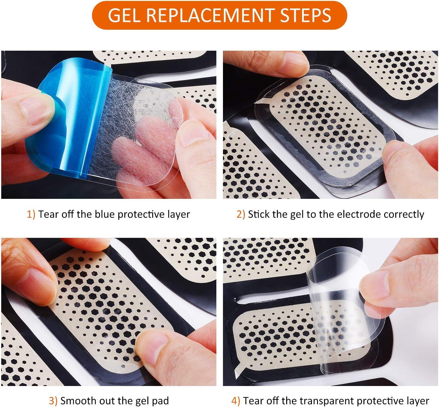 UYGHHK 72 Pcs//36 Pack Gel Pads for Abs Stimulator Ab Trainer Replacement Gel Sheet for EMS AB Stimulator Gel Pad for All Abdominal Belts Muscle Stimulator Ab Toner