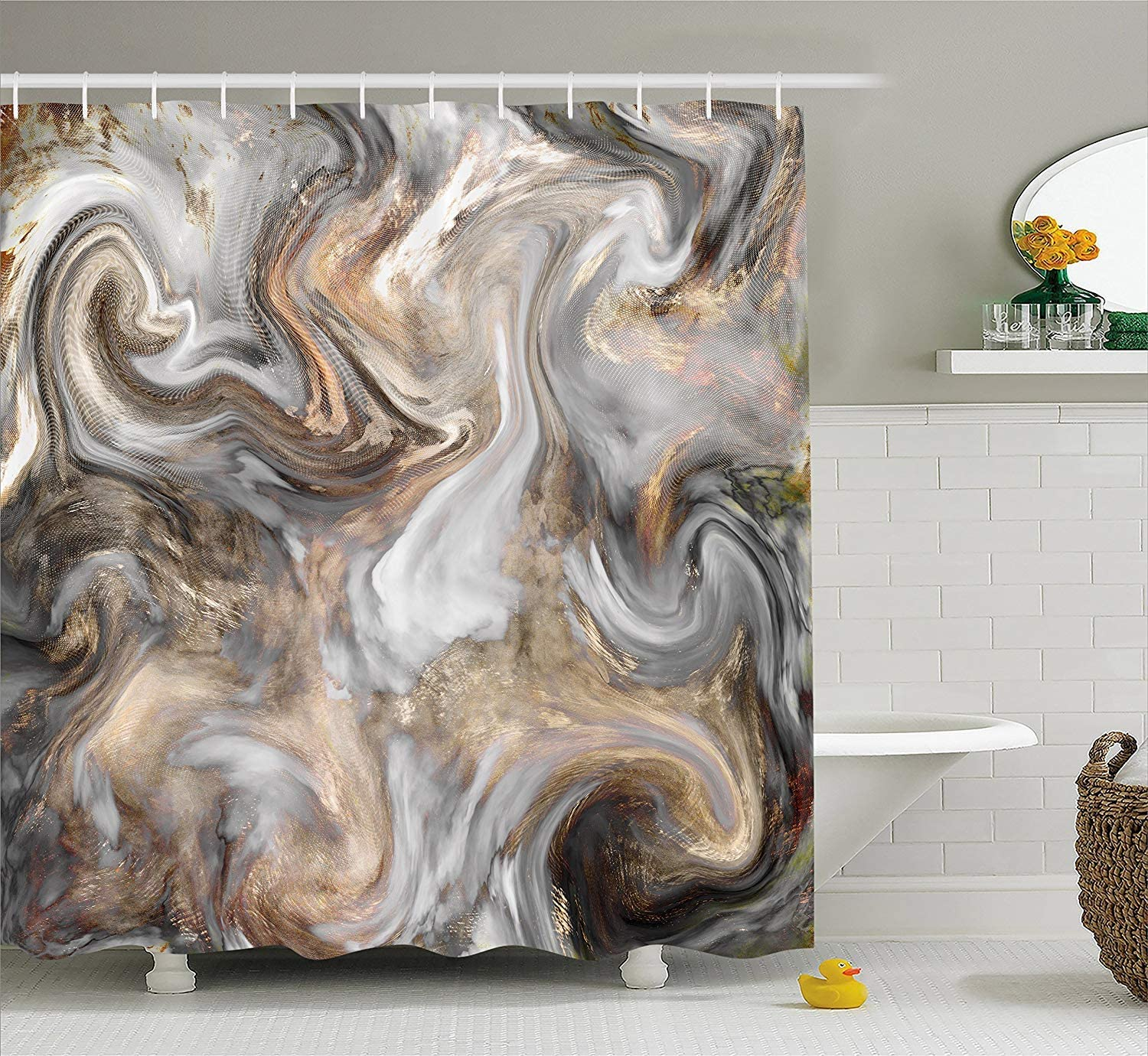 SPXUBZ Marble Retro Style Paintbrush Colors in Marbling Texture Watercolor Artwork Sand Brown Dust Light Grey Shower Curtain Waterproof Bathroom Decor Polyester Fabric Curtain Sets with Hooks