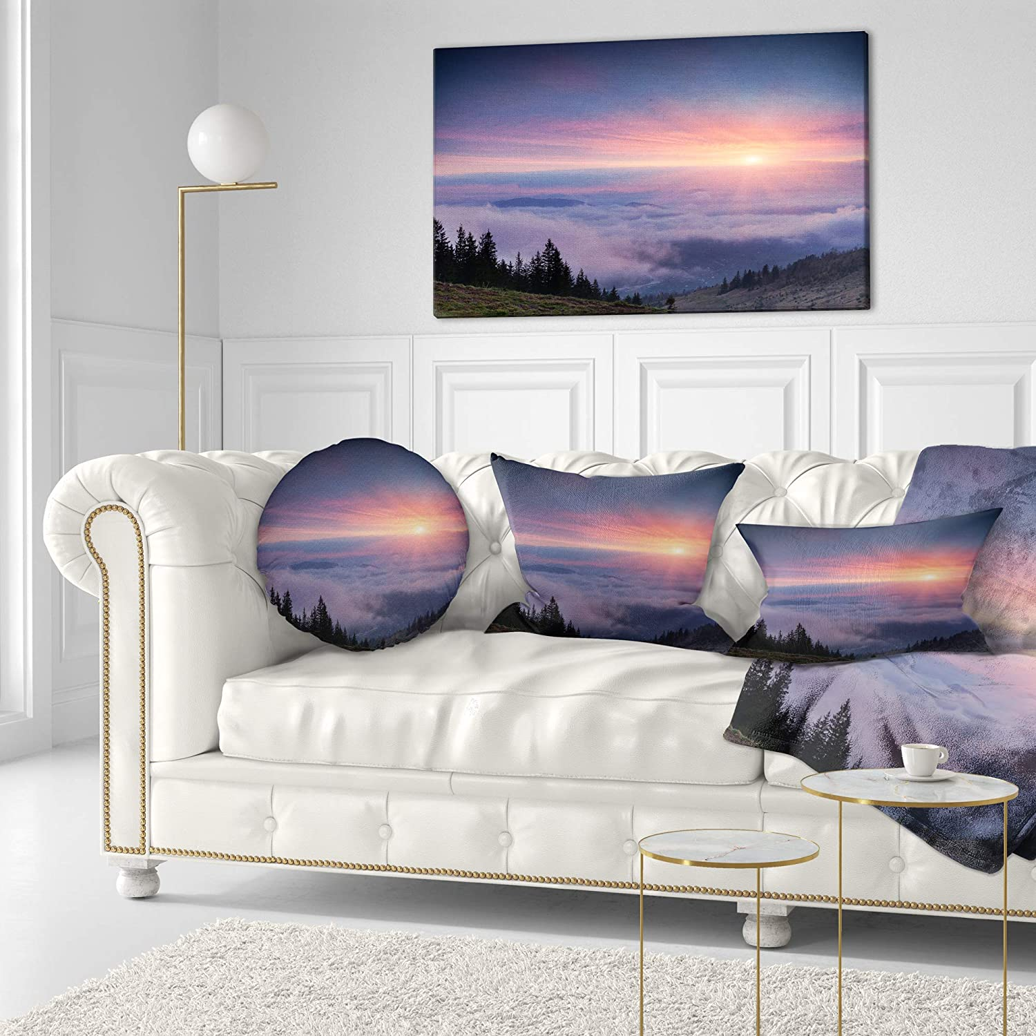 Sofa Throw Pillow 12 in x 20 in in Designart CU9620-12-20 Sunrise in Purple Sky Over Mountains Landscape Photography Lumbar Cushion Cover for Living Room Insert Printed On Both Side