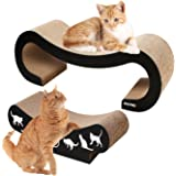 2 in 1 Cat Scratch Board , Large size is 44.5 X 22.8 X 13.3 CM ,Small Scratcher Size :44.5 X 22.8 X 18.2 ,Cutouts to Hide Toys OW-CSB8627-2