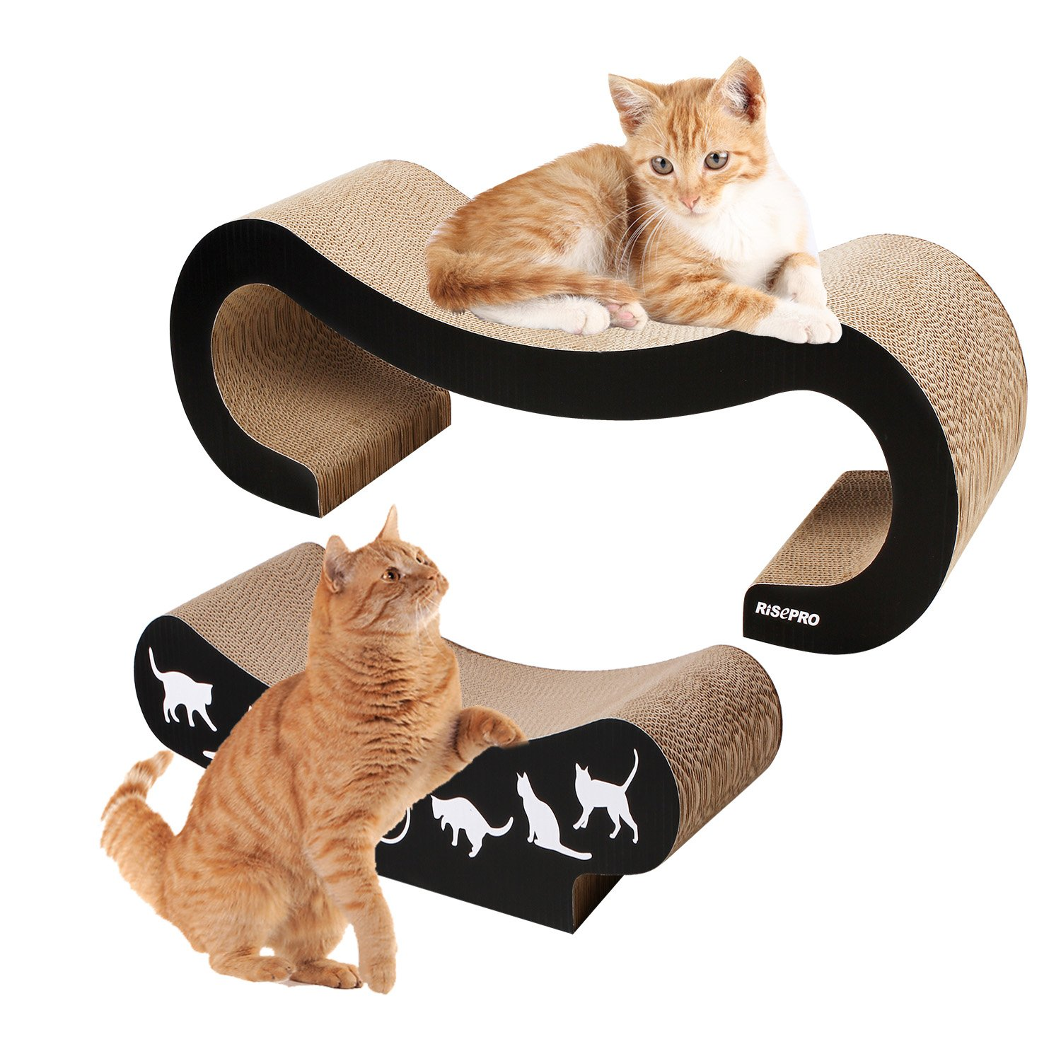 2 in 1 Cat Scratch Board , Large size is 44.5 X 22.8 X 13.3 CM ,Small Scratcher Size :44.5 X 22.8 X 18.2 ,Cutouts to Hide Toys OW-CSB8627-2 RISEPRO