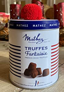 French Chocolate Truffles Gift Tin Imported - Les Parisiennes Truffe Fantaisie Made in France Can of 250 Grams