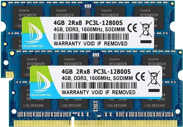 DUOMEIQI 8GB Kit (2 X 4GB) 2RX8 PC3L / PC3-12800 PC3L / PC3-12800S DDR3L/DDR3 1600MHz SO-DIMM CL11 204 Pin 1.35v / 1.5v Notebook Memory Laptop RAM Non-ECC Unbuffered for Intel, AMD & Mac Computer