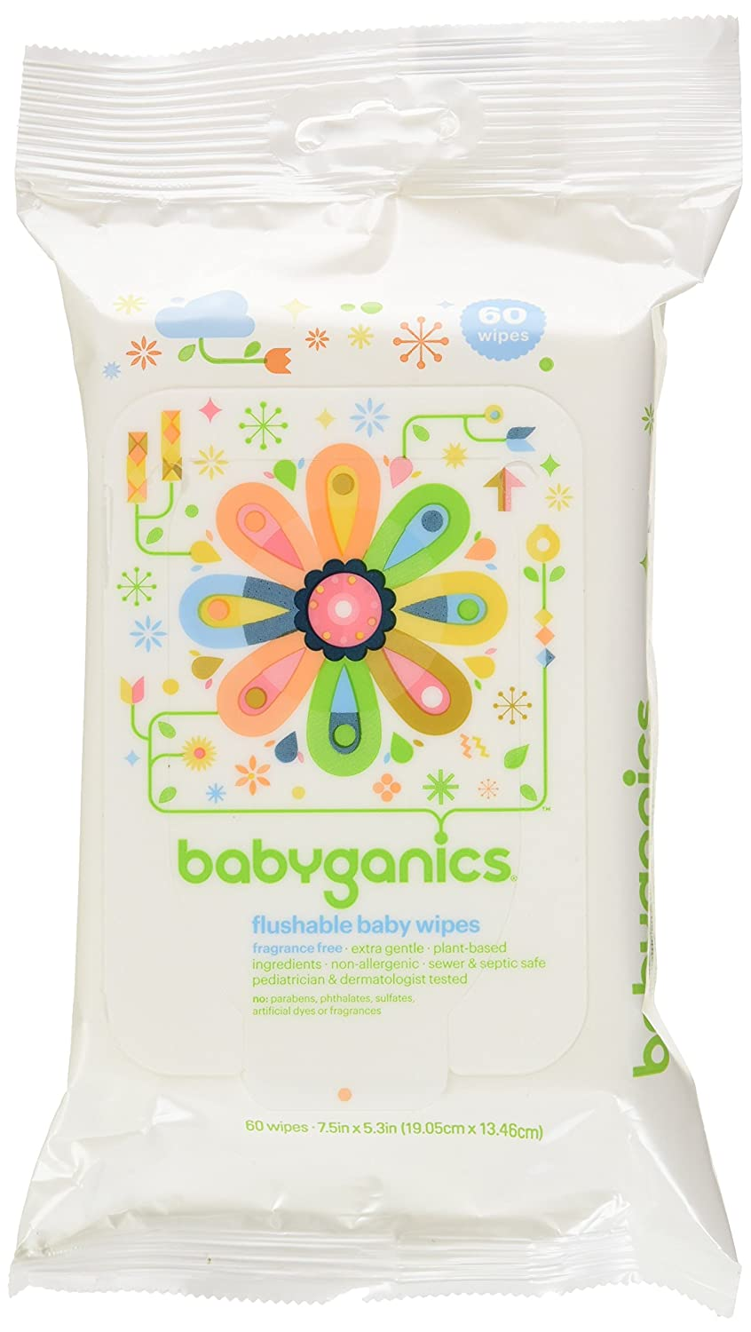 Babyganics Flushable Baby Wipes, Fragrance Free, 60-Count-Packaging May Vary (Pack of 3, 180 Total Wipes) BG-192