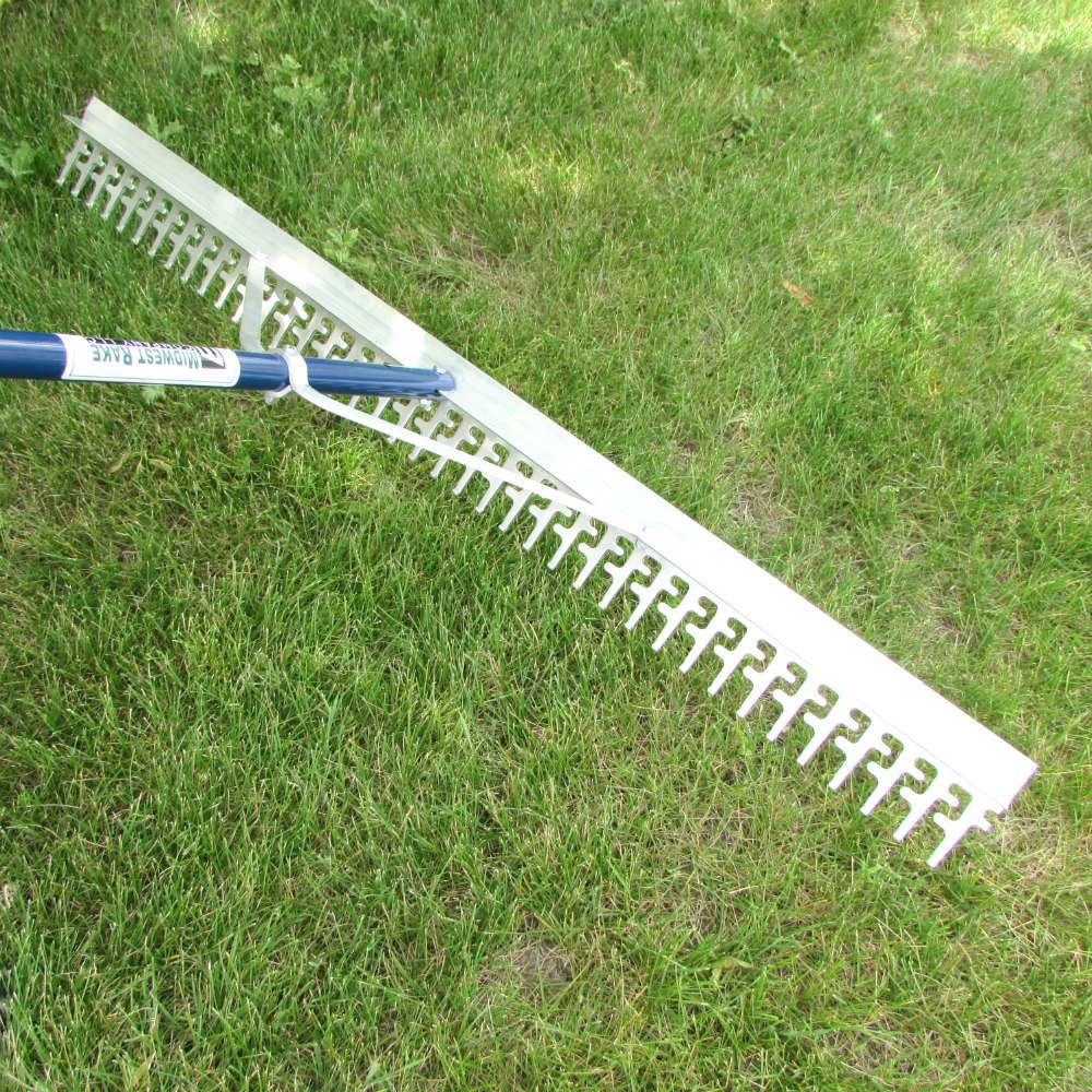 Super 4-Ft Wide Heavy Duty Rake with Extendable 11-Ft Long Handle for Seaweed beach screening landscaping raking and more by Water Land & Home