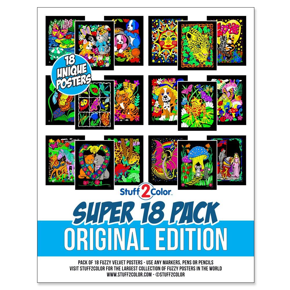 CH005 Original Edition Stuff2Color Super Pack of 18 Unique Fuzzy Velvet Coloring Posters