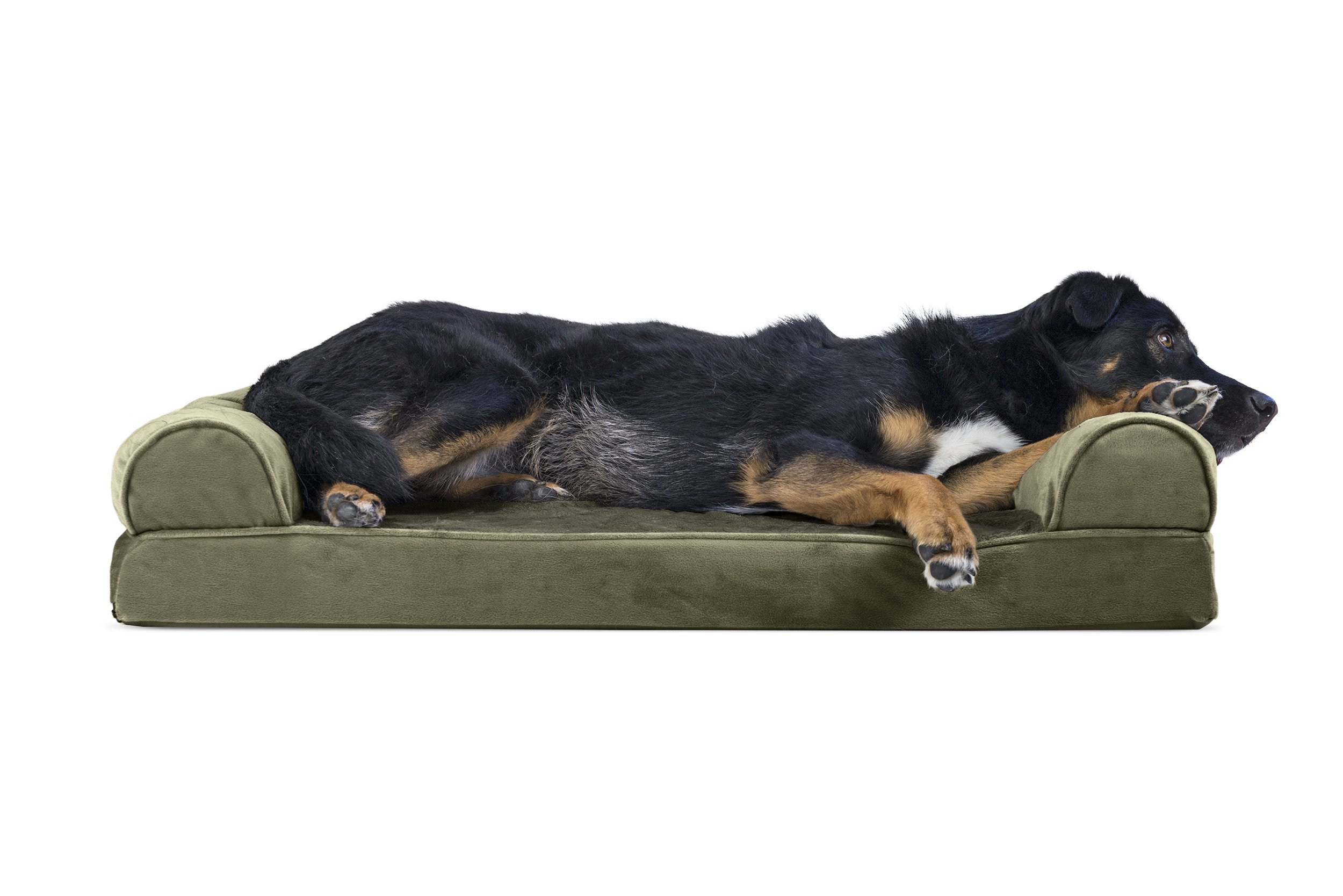 Furhaven Pet Dog Bed | Memory Foam Faux Fur & Velvet Couch Sofa-Style Pet Bed for Dogs & Cats, Dark Sage, Large