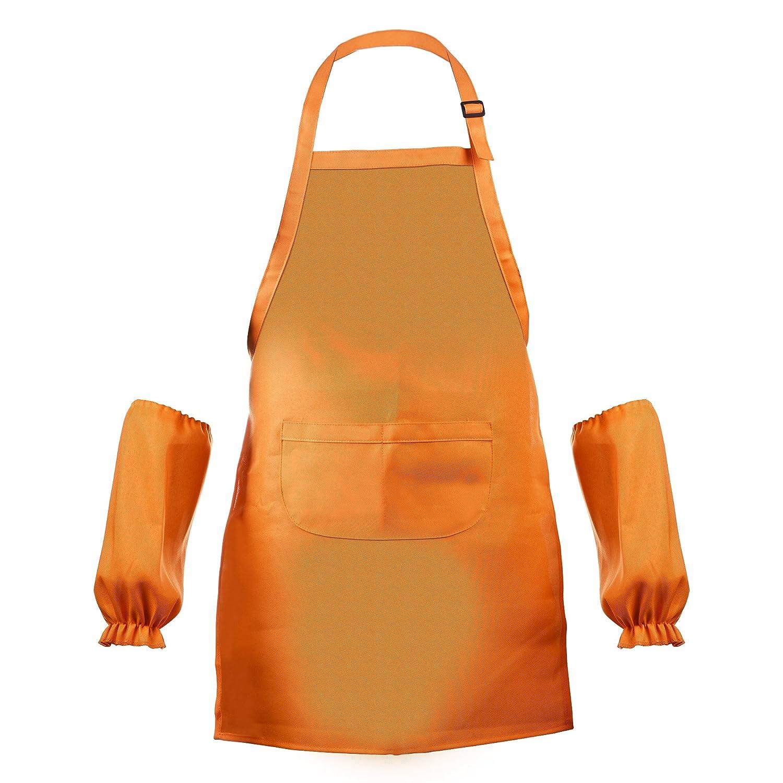BCP Waterproof Anti-Oil Adjustable Durable Open Back Kids Artists Aprons with Sleeveslet for Painting Kindergarten Art Craft Cooking Age 7-12 Years Old (Dark Brown)