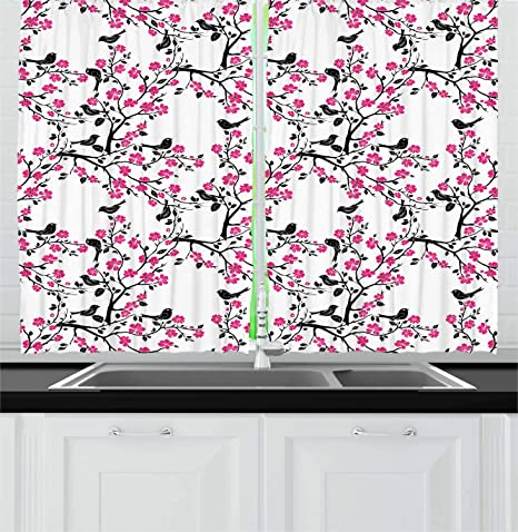 Ambesonne Cherry Blossom Kitchen Curtains Sakura Tree With Flourishing Flowers And Birds Black Silhouettes Window Drapes 2 Panel Set For Kitchen Cafe Decor 55 X 39 Black Hot Pink White Home