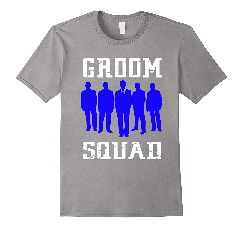 Groom Squad T-Shirt - Blue Silhouette Groomsmen Shirt-RT