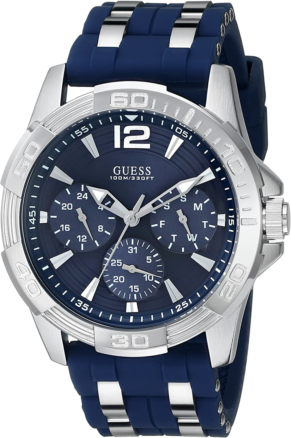 dividendo Dedicare zucchero  Amazon.com: GUESS Iconic Blue Stainless Steel Stain Resistant Silicone  Watch with Day, Date + 24 Hour Military/Int'l Time. Color: Blue (Model:  U0366G2): Watches