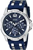 GUESS Men's U0366G2 Iconic Sporty Blue Silicone & Silver-Tone Watch with Day, Date & 24 Hour Int'l Time