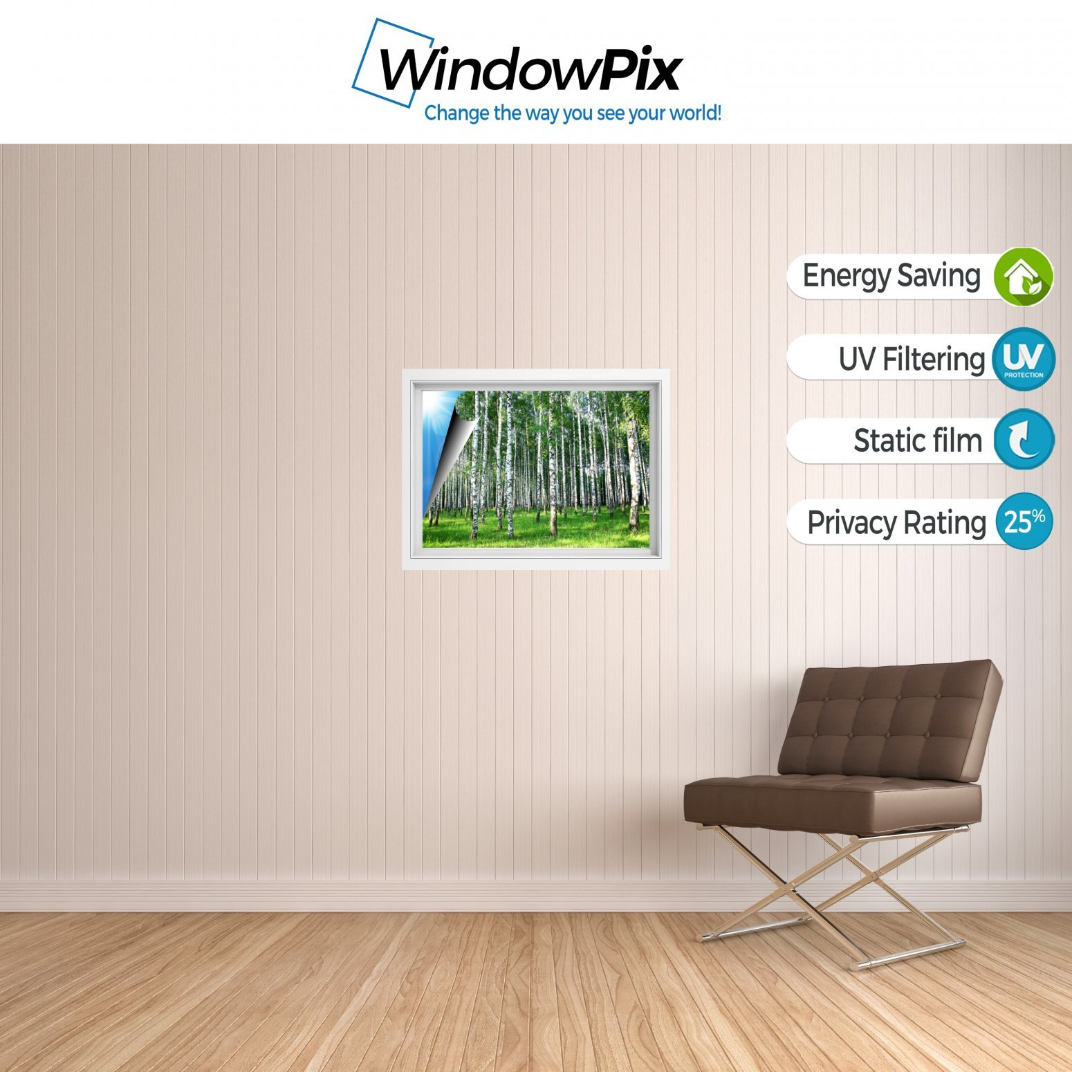 Windowpix 36x36 Inch Decorative Static Cling Window Film Sunlit Forest Trees Printed on Clear for Window Glass Panels. UV Protection, Energy Saving. by Windowpix (Image #3)