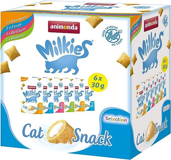 animonda Milkies, golosinas sin cereales para gatos, snacks para gatos, Selection, 12 x 30 g