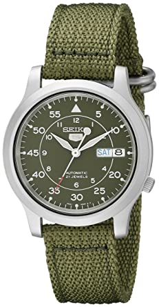 seiko 5 men s automatic watch green dial analogue display and seiko 5 men s automatic watch green dial analogue display and green fabric strap snk805k2