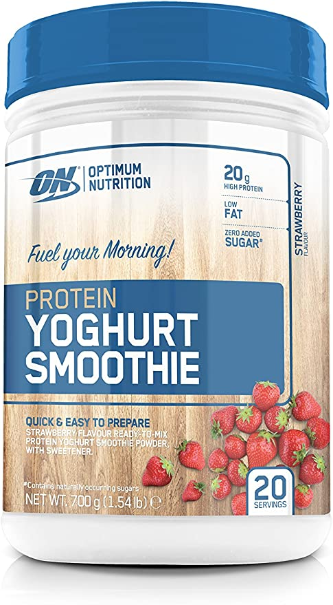 OPTIMUM NUTRITION Yogur Smoothie de Proteína con Sabor Fresa - 700 g